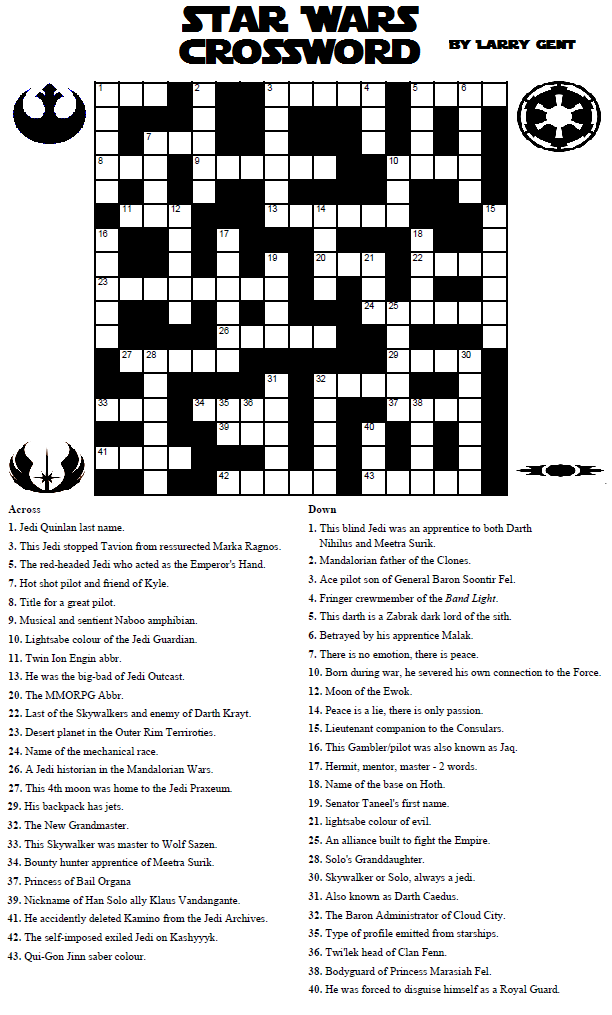 Divine image inside star wars crossword puzzles printable